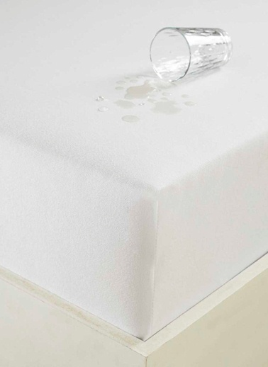 Eponj Home Sıvı Geçirmez Lastikli Çarşaf Tek Kişilik 100x200cm  Beyaz